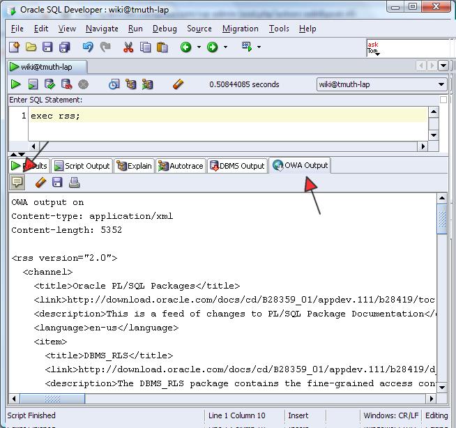 SQL Developer OWA Ouput